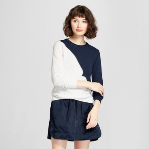 Hunter for Target Navy White Colorblock Sweater
